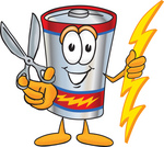 Clip Art Graphic of a Battery Mascot Character Holding a Pair of Scissors