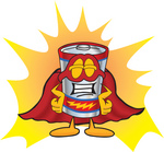 Clip Art Graphic of a Battery Mascot Character Dressed as a Super Hero
