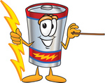 Clip Art Graphic of a Battery Mascot Character Holding A Bolt Of Energy And A Pointer Stick