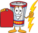 Clip Art Graphic of a Battery Mascot Character Holding A Bolt Of Energy And A Red Sales Price Tag