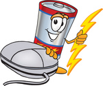 Clip Art Graphic of a Battery Mascot Character With a Computer Mouse