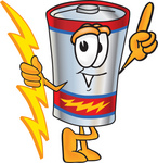 Clip Art Graphic of a Battery Mascot Character Holding A Bolt Of Energy And Pointing Upwards