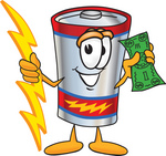 Clip Art Graphic of a Battery Mascot Character Holding A Bolt Of Energy And A Green Dollar Bill