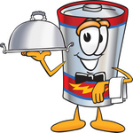 Clip Art Graphic of a Battery Mascot Character Dressed as a Waiter and Holding a Serving Platter