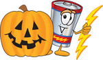 Clip Art Graphic of a Battery Mascot Character With a Carved Halloween Pumpkin