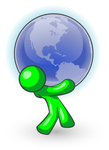Clip Art Graphic of a Green Guy Character Bending Back And Carrying A Large Blue Globe