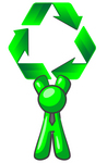 Clip Art Graphic of a Green Guy Character Wearing A Business Tie And Holding Green Recycle Arrows High Above His Head