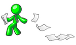 Clip Art Graphic of a Green Guy Character Wearing A Business Tie, Looking Back At Papers Blowing Away In A Breeze