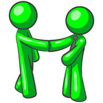 Clip Art Graphic of a Green Guy Character Wearing A Business Tie And Shaking Hands With A Client On The Pursuit Of Green Energy