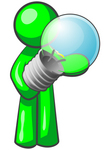 Clip Art Graphic of a Green Guy Character Standing And Holding A Glass Electric Light Bulb