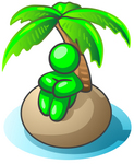Clip Art Graphic of a Green Guy Character Seated In Thought Under The Shade Of A Palm Tree On A Deserted Tropical Island