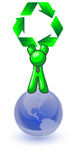 Clip Art Graphic of a Green Guy Character Wearing A Business Tie And Standing On Top Of A Blue Globe, Holding Green Recycle Arrows Up High