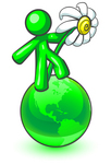 Clip Art Graphic of a Green Guy Character Dancing On A Green Globe With A White Daisy Flower