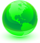 Clip Art Graphic of a Shiny Green World Globe With The American Continents