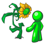 Clip Art Graphic of a Green Guy Character Standing In Front Of His Giant Sunflower In A Garden