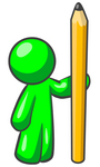 Clip Art Graphic of a Green Guy Character Holding Up A Giant Yellow Pencil
