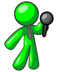 Clip Art Graphic of a Green Guy Character Wearing A Business Tie And Holding Out A Microphone
