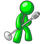 Clip Art Graphic of a Green Guy Character Wearing A Business Tie And Tipping A Microphone On A Stand While Rocking Out And Singing On Stage