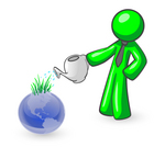 Clip Art Graphic of a Green Guy Character In A Business Tie, Watering A Garden Of Sprouting Grasses On Top Of A Blue Globe