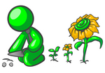 Clip Art Graphic of a Green Guy Character Wearing A Business Tie And Kneeling To Plant Seeds In A Sunflower Garden With Flowers In Different Stages Of Growth