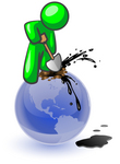 Clip Art Graphic of a Green Guy Character Stabbing A Shovel Into A Blue Globe With Oil Spurting Out