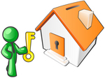 Clip Art Graphic of a Green Guy Character Holding A Golden Key And Standing In Front Of An Orange Home With A Coin Slot On The Roof And Key Hole In The Door