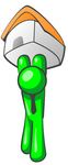 Clip Art Graphic of a Green Guy Character Holding His Home Up High To Keep Safe From Foreclosure