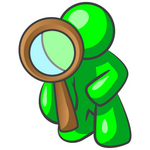Clip Art Graphic of a Green Guy Character Kneeling And Looking Through A Magnifying Glass To Find A Solution To Pollution