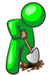 Clip Art Graphic of a Green Guy Character Using A Shovel To Dig For Oil, Or Digging A Hole To Plant A Seed