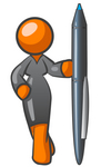 Clip Art Graphic of a Successful Orange Woman Character Wearing A Black Dress And Holding Up A Pen
