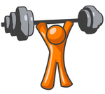 Clip Art Graphic of an Orange Man Character Holding Up A Heavy Barbell Above His Head