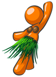 Clip Art Graphic of an Orange Woman Character In Coconut Shells And A Grass Skirt, Hula Dancing At A Hawaiian Luau