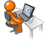 Clip Art Graphic of an Orange Man Character Watching A Video On Anatomy, Showing A Skull, At A Computer Desk