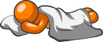 Clip Art Graphic of an Orange Man Character Sound Asleep Under A Blanket, Resting His Head On A Pillow