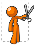 Clip Art Graphic of an Orange Woman Character Snipping A Coupoun From The Newspaper
