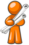 Clip Art Graphic of an Orange Man Character Holding Two Long Scrolled Blueprints Or Design Plans