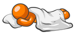 Clip Art Graphic of a Comfortable Orange Man Character Sleeping On A Pillow Under A Sheet