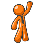 Clip Art Graphic of an Orange Man Character Wearing A Business Tie And Waving To Friends