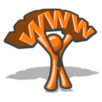 Clip Art Graphic of an Orange Man Character Wearing A Business Tie, Holding Up Www Over His Head In Front Of A Shadow
