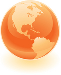 Clip Art Graphic of a Shiny Orange Globe Showing The Americas