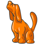 Clip Art Graphic of an Orange Hound Dog Character Sounding A Lonely Howl