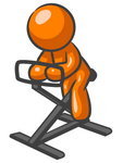 Clip Art Graphic of an Orange Man Character Getting Fit While Exercising On A Stationary Bike In A Fitness Gym