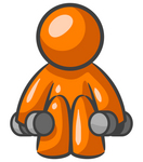 Clip Art Graphic of an Orange Man Character Doing Squats And Lifting Weights At The Fitness Gym