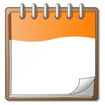 Clip Art Graphic of an Orange And White Spiral Notepad With The Corner Of A Page Curling