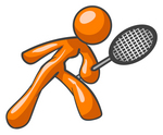 Clip Art Graphic of an Orange Woman Character Bending Slightly And Reaching Out With A Racket While Playing A Game Of Tennis