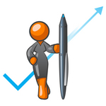Clip Art Graphic of an Orange Corporate Woman Character Standing In Front Of An Arrow And Check Mark With A Pen