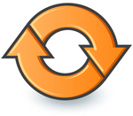 Clip Art Graphic of an Orange Circle Of Two Arrows Moving In A Clockwise Motion