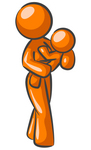 Clip Art Graphic of an Orange Woman Mom Character Carrying Her Young Child In Her Arms