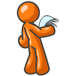 Clip Art Graphic of an Orange Guy Character Standing In Shock And Reading A Good Resume, Long Letter Or Legal Documents