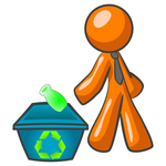 Clip Art Graphic of an Orange Guy Character Wearing A Business Tie And Tossing A Bottle Into A Recycle Bin